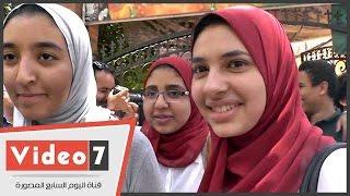 سعادة طالبات لجنة مدرسة جمال عبد الناصر بمادتى التربية الوطنية والإحصاء