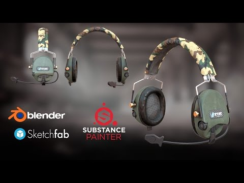 Military Headphone Z-Tactical Z110T timelapse 3d modeling and texturing
