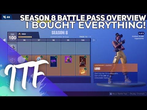 Fortnite Season 8 Battle Pass Overview [I BOUGHT EVERYTHING!] (Fortnite Battle Royale)