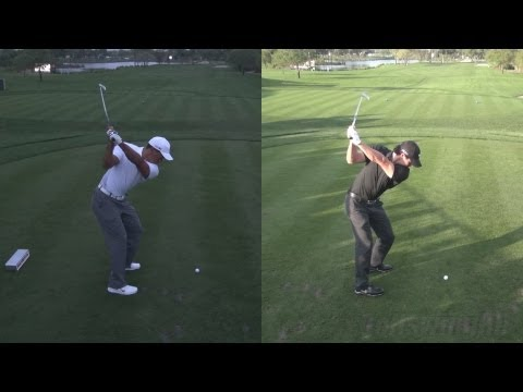 GOLF SWING 2013 - TIGER WOODS LOW LIGHT vs RORY MCILROY - SYNCED ELEVATED DTL & SLOW MOTION - HD