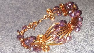 Wire bracelet with crystal beads - How to make wire jewelry 89