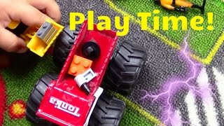 Toy Trucks for Children | Monster garbage truck, dump truck, matchbox, legos | JackJackPlays