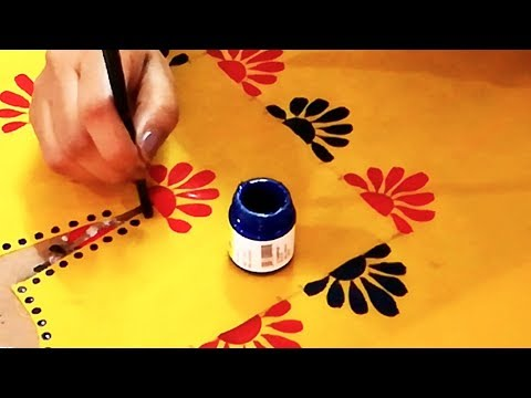 Hand Painted Designer Neckline on Yellow Colored Kurti | Designer Kurti