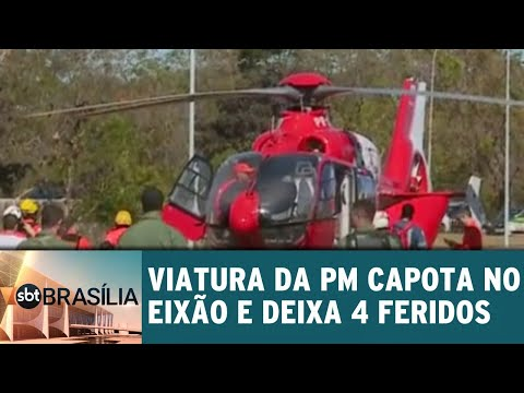 Viatura da PM capota no eixão e deixa 4 feridos | SBT Brasília 28/06/2018