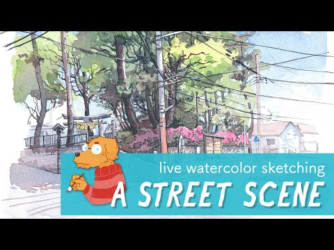 Live watercolor sketching a street scene