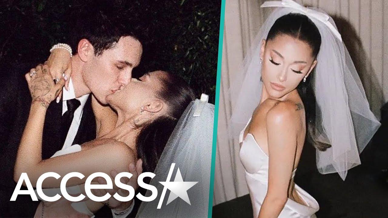Ariana Grande & Dalton Gomez Kiss In First Wedding Photo