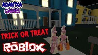 trick or treat en roblox por halloween voy con mi madre a pedir truco o trato