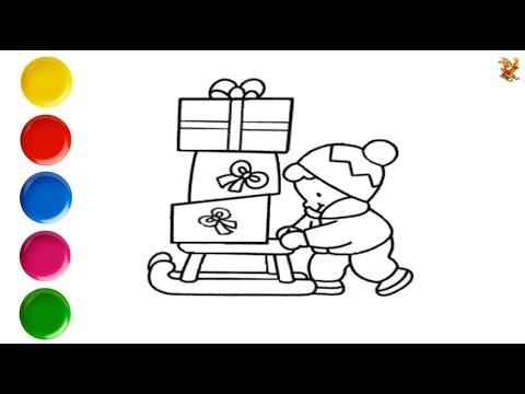Раскраска для детей САНКИ с ПОДАРКАМИ / Мультик - Раскраска / Учим цвета