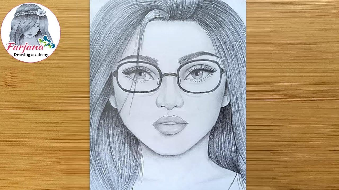 How To Draw A Girl Face With Glasses For Beginners Step By Step Face Drawing Pencil Sketch Youtube