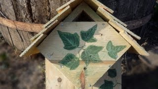 How To Make A Repurposed Wood Bird House Nesting Box For Blue Tits & Chickadees. Caja Nido En Palets