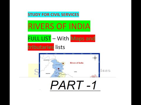 RIVERS OF INDIA  - Full List - With MAPS and  tributaries lists part -1