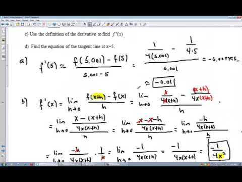 Review Exam I Part II - Limits and Derivatives