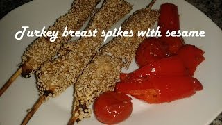 Turkey breast spikes with sesame recipe