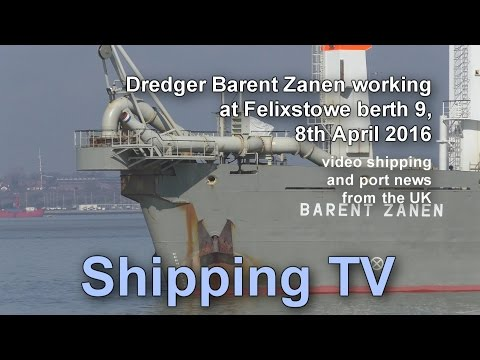 Dredger Barent Zanen working at Felixstowe, 8 April 2016