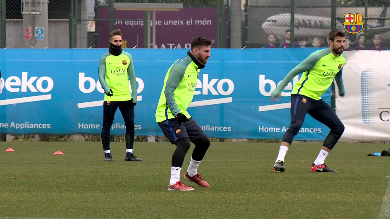 FC Barcelona training session: Last training session before the trip to  Eibar - YouTube