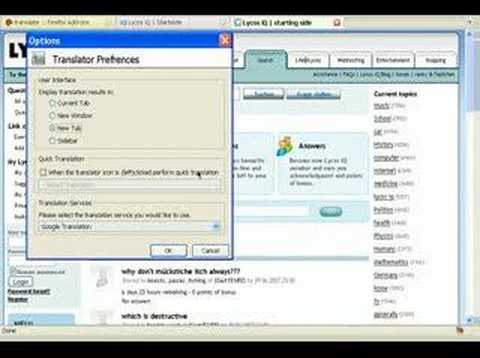 Using Firefox Extension Translator
