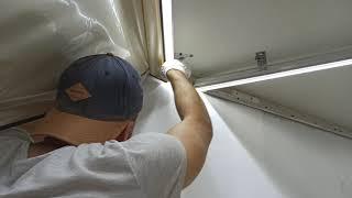 Световые линии flexy в коридоре,своими руками,перламутровый натяжной потолок,стройка,ремонт,отделка