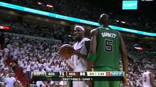 "Lebron James ""yeah yeah yeah"" at Kevin Garnett"