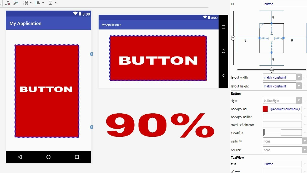Android Tutorial How to Set Height and Width in Percentage of a Button with  ConstraintLayout