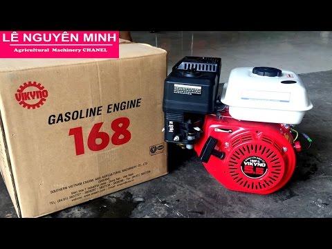 Động cơ xăng VIKYNO 5.5 Hp cốt xéo 168F-L Gasoline engine VIkyno 5.5hp (clip test thử máy)