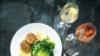 Smoky Salmon Cakes With a Lime Mayonnaise and a Parmigiano Reggiano Cheese and Green Leaf Salad