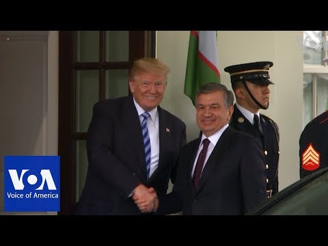 U.S. President DonaldTrump welcomes President of Uzbekistan Shavkat Mirziyoyev to the White House