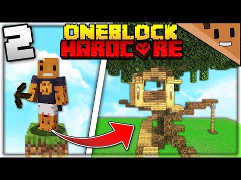 I Transformed ONE BLOCK into a MASSIVE TREEHOUSE (Minecraft Hardcore One Block #2)