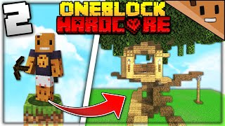 I Transformed ONE BLOCK into a MASSIVE TREEHOUSE (Minecraft Hardcore One Block #2)