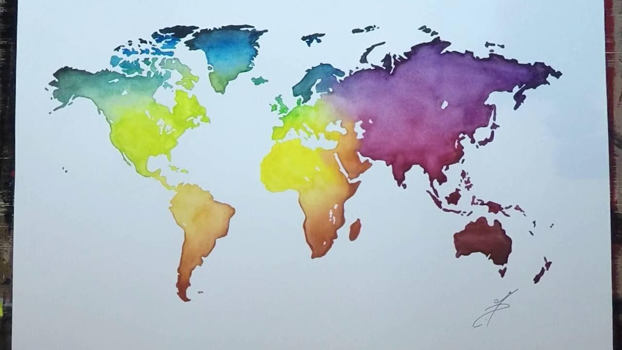 carte du monde aquarelle Map Monde Aquarelle   YouTube