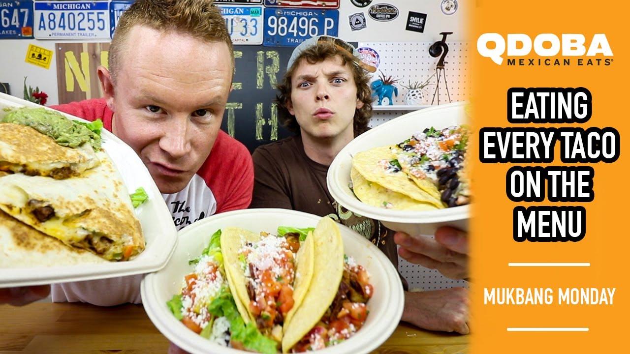 qdoba donation request Eating Every Taco on the Menu at Qdoba Mexican Eats | Mukbang Monday ...