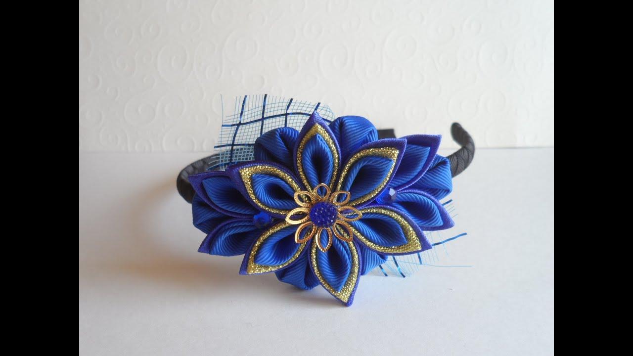 Фото цветка канзаши синего 26