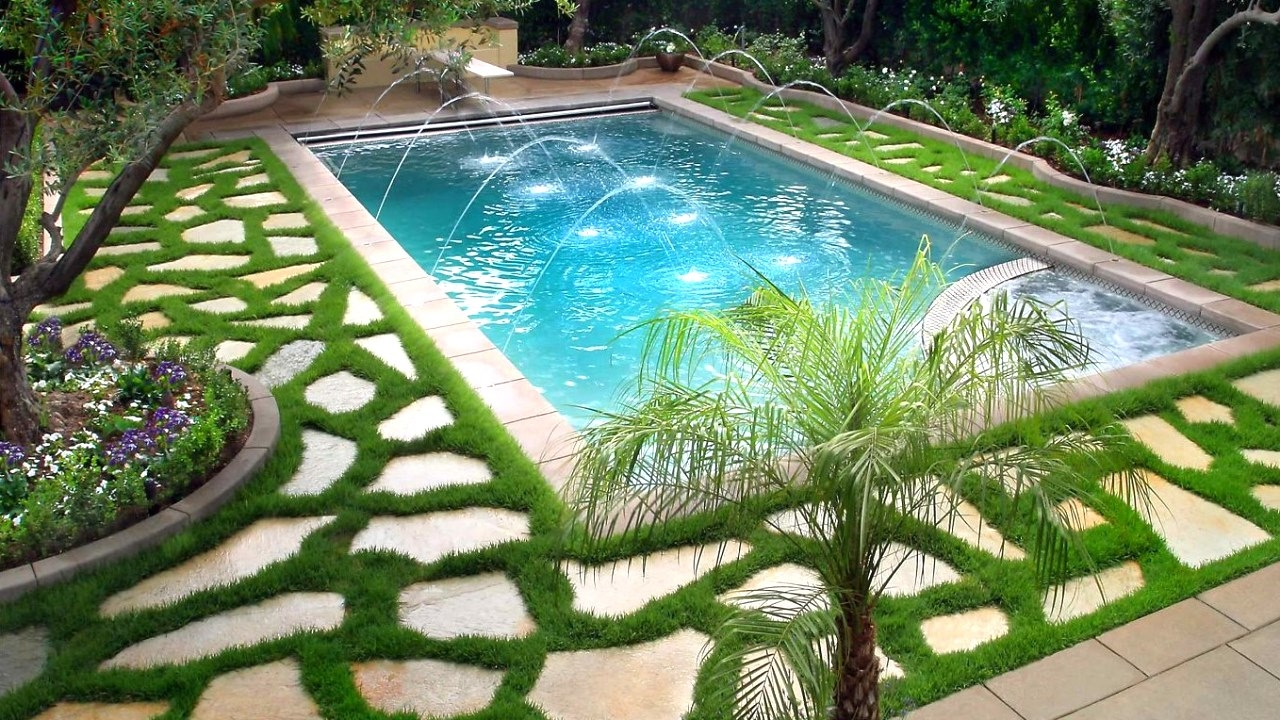 Swimming pool landscaping ideas ideas for beautiful for Pool garden design pictures