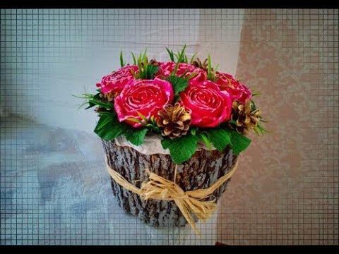 ЗИМНИЕ РОЗЫ в ДЕРЕВЕ/DIY/WINTER ROSES In TREE\ мастер класс