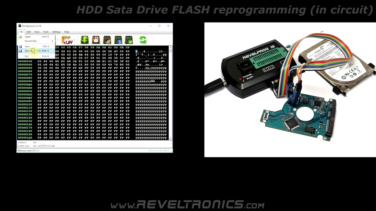 LE25S40 reprogramming in HDD circuit (1 8V FLASH SPI) with SOIC Clip and  REVELPROG-IS