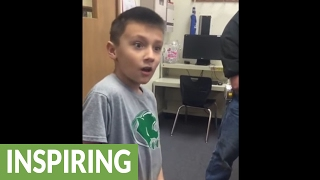 Kid finds out he's going to be a big brother
