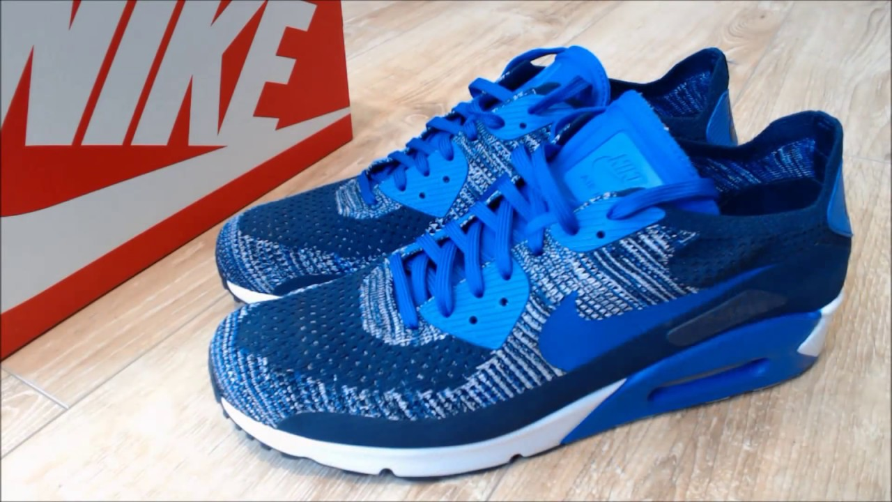 51c95b74e8a7 Nike Air Max 90 Ultra 2.0 Flyknit Blue - YouTube