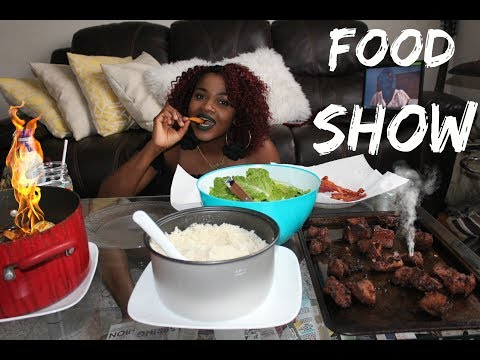 MUKBANG (Eating Show) - 2lb Pork, Red Hot Sauce with Rice, Plaintain and Caesar Salad/Bacon&Croutons