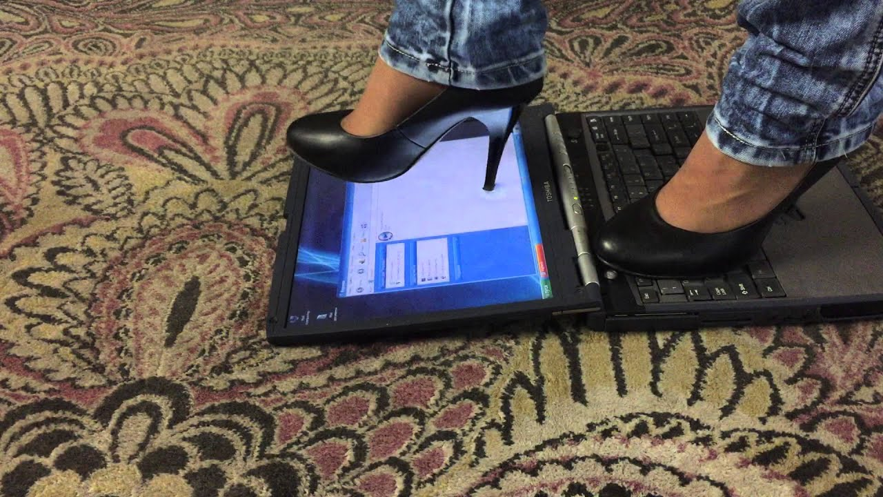 c3df46e76c3 Girl trample and crush laptop with high heels part 2 - YouTube