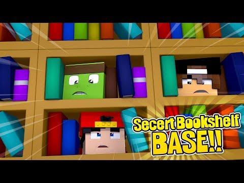 Minecraft Secret Base - HOW TO MAKE A SUPER SECRET BASE INSIDE A BOOKSHELF!!