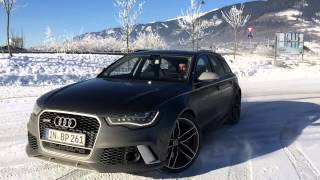 Audi RS6 snow drifting slo-mo