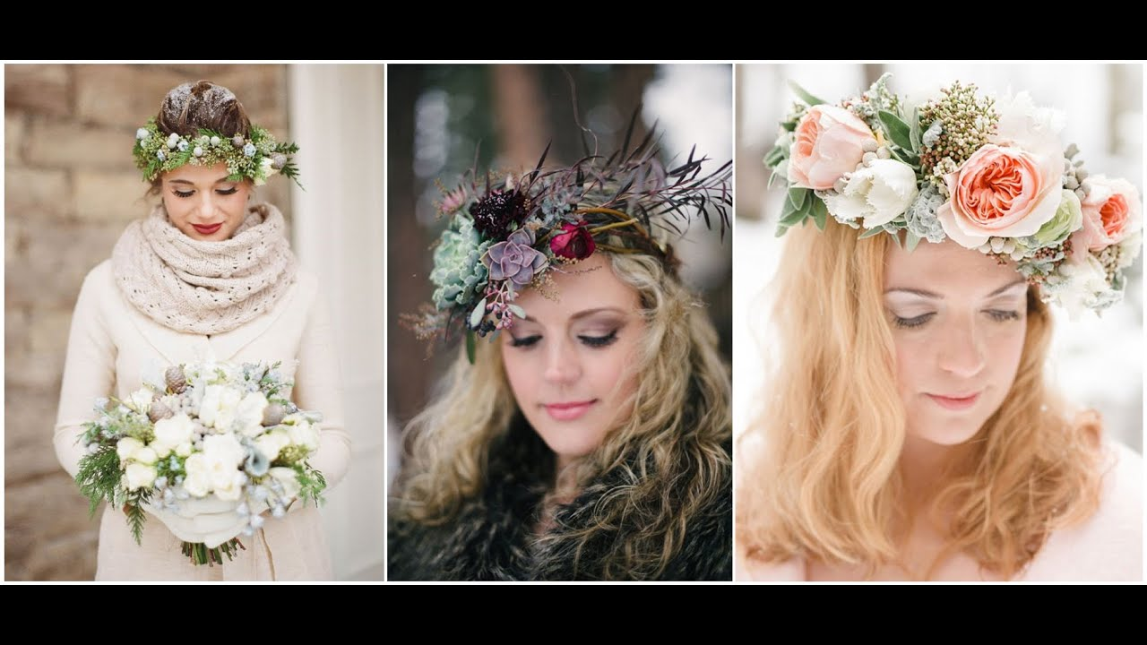 Beautiful real winter brides with gorgeous floral crowns flower beautiful real winter brides with gorgeous floral crowns flower crowns izmirmasajfo