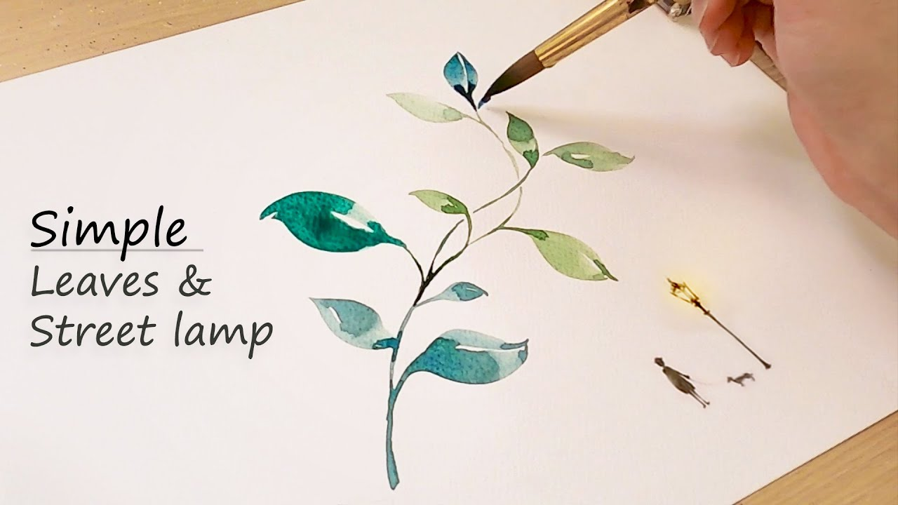 Simple Leaves Watercolor Painting