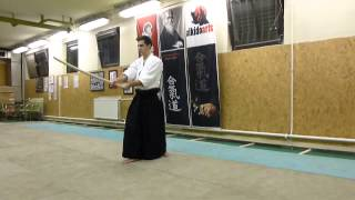 kirikaeshi hanmi (sword)-boken-[TUTORIAL] Aikido basic weapon technique 合気剣 合気剣