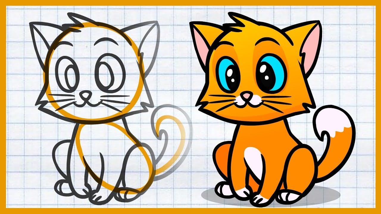 Детские рисунки котят для срисовки