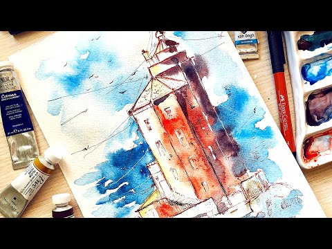 How to paint LIGHTHOUSE watercolor painting tutorial thumbnail