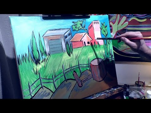 Abstract Landscape painting by RAEART Speed Art Time Lapse