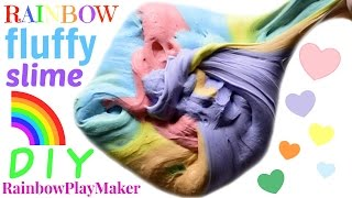 DIY FLUFFY RAINBOW SLIME!! WITHOUT BORAX! FUN SLIME VIDEO