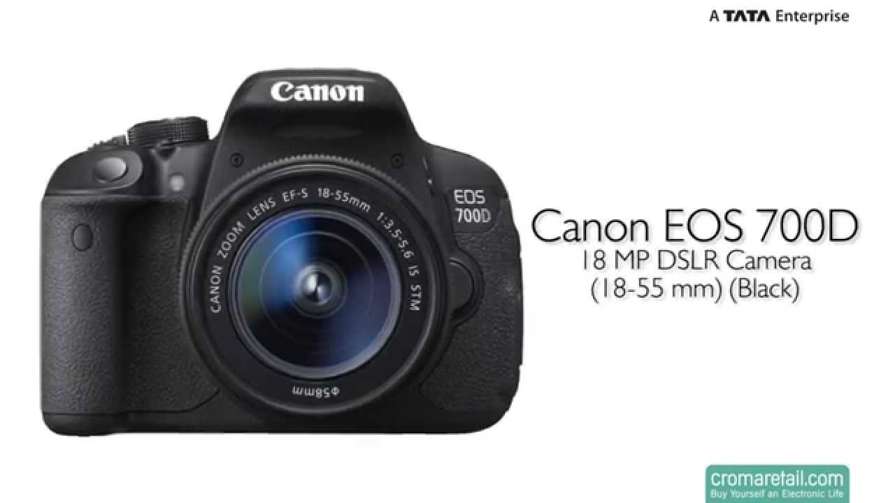 Canon eos 700d 18 mp dslr camera 18 55 mm black youtube for Housse canon 700d