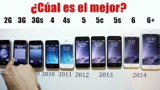Comparación de todos los iphones 6(seis) vs 6(seis) plus vs 5s vs 5c vs 5(cinco) vs 4s vs 4(cuatro) vs 3gs vs 3g vs 2g