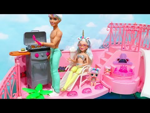 Barbie LOL Families ! The Unicorn Family Goes to the Swimming Pool | Toys and Dolls Pretend Play